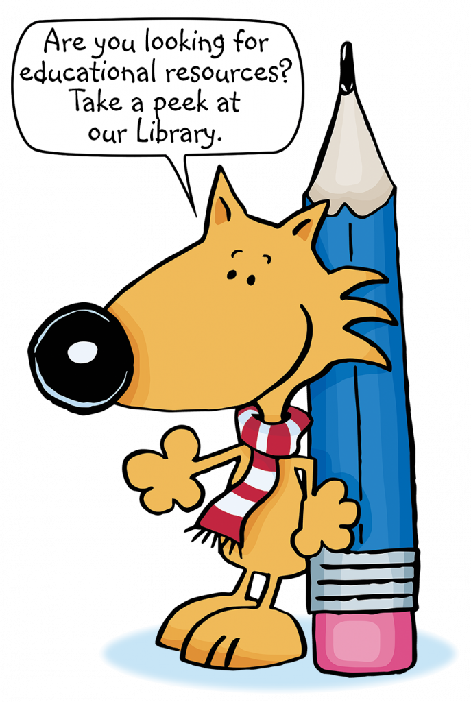 """Guy Fox, leaning on pencil, suggests, """"Are you looking for educational resources? Take a peek at our Library!"""""""