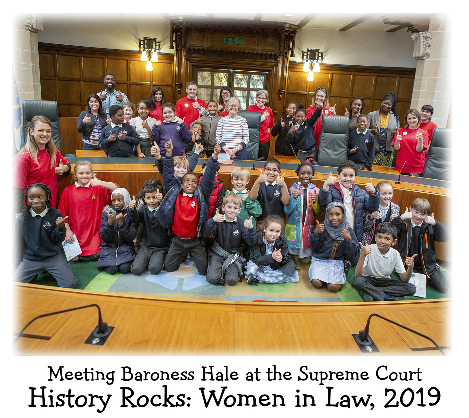 A group of children with Lady Hale, First Female President of the Supreme Court of the UK