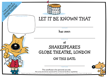 Certificate: Visit to the Globe Theatre