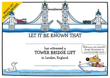 Certificate: Tower Bridge Lift